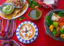 Aztec soup from Mexico recipe. With mexican sauces Stock Photography
