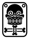Aztec stamp with skull Royalty Free Stock Image