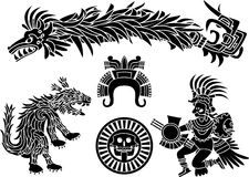 Aztec stencil set. Coyote, feathery dragon, quetzalkoatl royalty free illustration