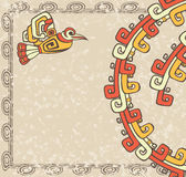 Aztec style, bird and pattern backgroun Stock Photo