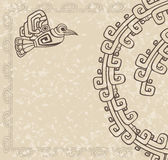 Aztec style. Bird and pattern on dirty backgroun vector illustration