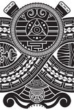 Aztec style pattern. Ethnic print template for textile and paper. Tattoo design. Stock Image