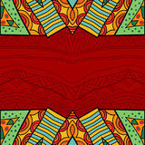 Aztec style tribal ornate background in bright colors. Abstract borders with ethnic pattern. Fancy ornament. Vector illustration Stock Photos