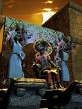 Aztec sun adoration Royalty Free Stock Photos