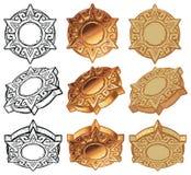 Aztec Sun Medallion Vector Icon Set Royalty Free Stock Photo