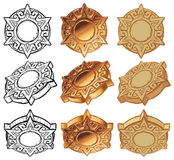 Aztec sun medallion vector icon set Royalty Free Stock Photo