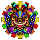 Aztec Sun Warrior Psychedelic Mask Vector illustration. Aztec Emperor Sun Warrior Mask originally made on Vector Graphic Art Technique, inspired by Ancient Aztec royalty free illustration