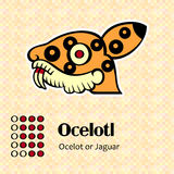 Aztec symbol Ocelotl Stock Photo