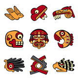 Aztec symbols. Aztec animal and abstract symbols stock illustration