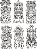 Aztec totempoler Fotografering för Bildbyråer