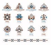 Aztec tribal ethnic ornaments set Stock Photography