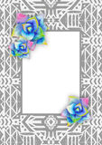 Aztec tribal mexican background. With watercolor succulents and frame for card, cover, invitation. Hipster boho chic background with bright agave Royalty Free Stock Photography