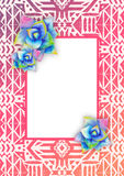 Aztec tribal mexican background. With watercolor succulents and frame for card, cover, invitation. Hipster boho chic background with bright agave Stock Photos
