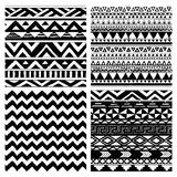 Aztec Tribal Seamless Black and White Pattern Set Royalty Free Stock Photography