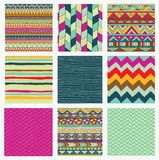 Aztec Tribal Seamless Colorful Pattern Set Stock Photos
