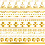 Aztec tribal seamless gold pattern background. Tribal design can be applied for invitations, fashion fabrics. Wallpapers, applications and Web sites background Stock Images