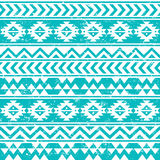 Aztec tribal seamless grunge white pattern on blue background Royalty Free Stock Photography
