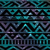 Aztec Tribal Seamless Pattern on Cosmic Background Stock Photo