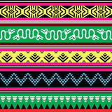 Aztec tribal seamless pattern with monsters in colour Royalty Free Stock Photography