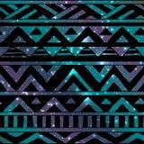 Aztec Tribal Seamless Pattern On Cosmic Background Stock Photo