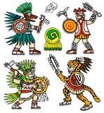 Aztec warriors. Four Aztec warriors, skull, jaguar and shield color  ink illustration set Stock Photos