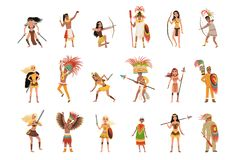 Aztec warriors set, men and women in traditional clothes and headgear with weapon vector Illustrations on a white vector illustration