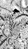 Aztec Warriors Totems Doodle Art. Aztec Symbolic Warriors Totems on a Dense Tropical Rainforest vegetation, made on Black and White Doodle Art Style Design vector illustration