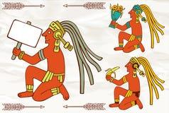 Azteca colorido de Suramérica que se sienta con la bandera Imágenes de archivo libres de regalías
