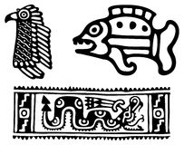 Aztecs. Fantastic animals and birds of Aztecs Stock Image