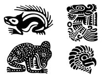 Aztecs. Fantastic animals and birds of Aztecs Royalty Free Stock Photos