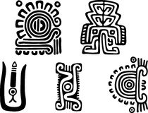 Aztecs. Fantastic animals and birds of Aztecs Stock Images