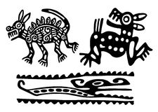Aztecs. Fantastic animals and birds of Aztecs Stock Photography