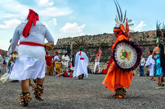 Aztecs Dancing. Traditional dance at Teotihuacan Pyramid of The Sun Mexico on Friday 20th 2015 stock photo