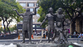 Aztecs discover the place for his new city sculpture Stock Photography