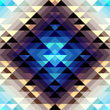 Aztecs pattern. Seamless geometric abstract pattern in aztecs style on blue and brown stripes background stock illustration