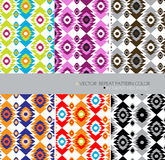 Aztecs repeat pattern modern color set 6 ethnic abstract  background Stock Image