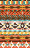 Aztecs seamless pattern on hot color. With bird and flowers Royalty Free Stock Photography
