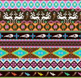 Aztecs seamless pattern with skull. Leaf, feather, flowers and dear vector illustration