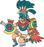 Azteekse god, kleurenversie Stock Foto