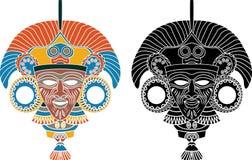Azteekse maskerstencil royalty-vrije illustratie
