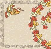 Azteekse stijl, vogel en patroon backgroun royalty-vrije illustratie