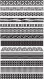 13 aztek granic Dividers czerni biel Zdjęcia Stock