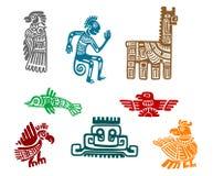 Azteka i majowia antyczna rysunkowa sztuka royalty ilustracja