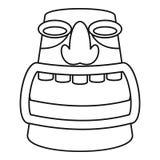 Azteka idola ikona, konturu styl ilustracji