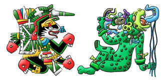 Aztekische Mayadeutungen eines Hundes und des Jaguars Lizenzfreie Stockfotos