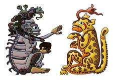 Aztekische Mayagottheit - ah Puch und Balam Stockfotografie