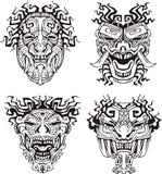 Aztekische Monstertotemmasken Stockfotos