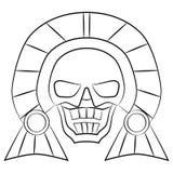 Aztekische Vorfahren der Schwarzweiss-Maske von Mexiko auf einem weißen Hintergrund Lizenzfreie Stockbilder