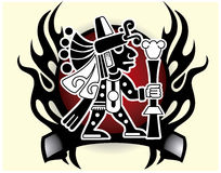 Aztekischer Gott des Handels und Stammes- Gott der Reisenden maskieren Vektorillustration Stockbilder