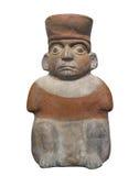 Aztekischer Mann der alten Statue lokalisiert Lizenzfreies Stockfoto